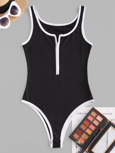 Kontrastbindung Gerippter Bodysuit Mit Reißverschluss - Schwarz M