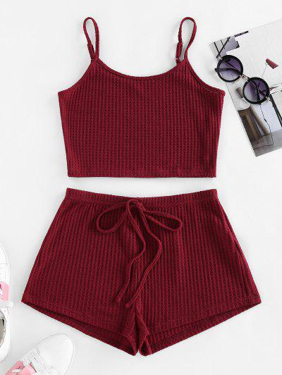 ZAFUL Lounge Textured Cami Bowknot Shorts Set - Red Wine S