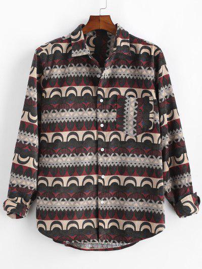 Tribal Print Button Up Pocket Corduroy Shirt - Deep Red Xl