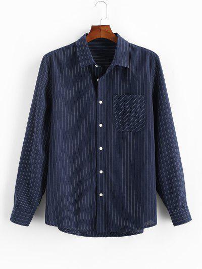 Pinstripe Print Button Up Pocket Shirt - Deep Blue Xl