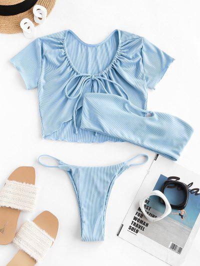 ZAFUL Keyhole Cutout Ribbed Three Piece Bikini Swimwear - Light Blue S