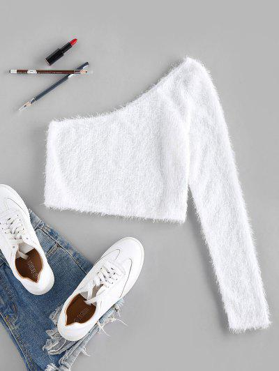 ZAFUL Fuzzy One Shoulder Cropped Sweater - White S