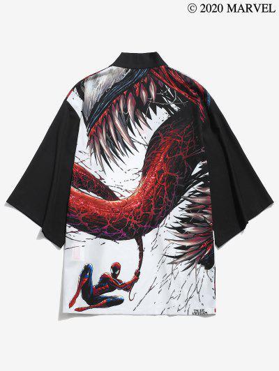 Marvel Spider-Man Venom Open Front Kimono Cardigan - Black L