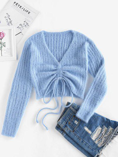 ZAFUL Cinched Plunging Furry Crop Sweater - Light Blue S