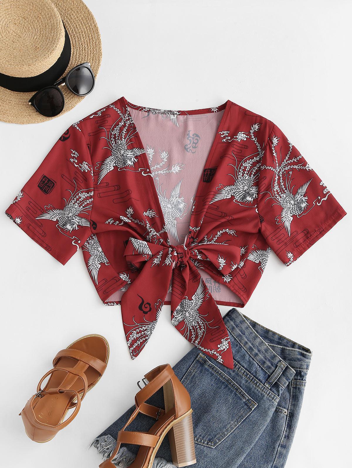 Tie Front Phoenix Print Oriental Crop Blouse