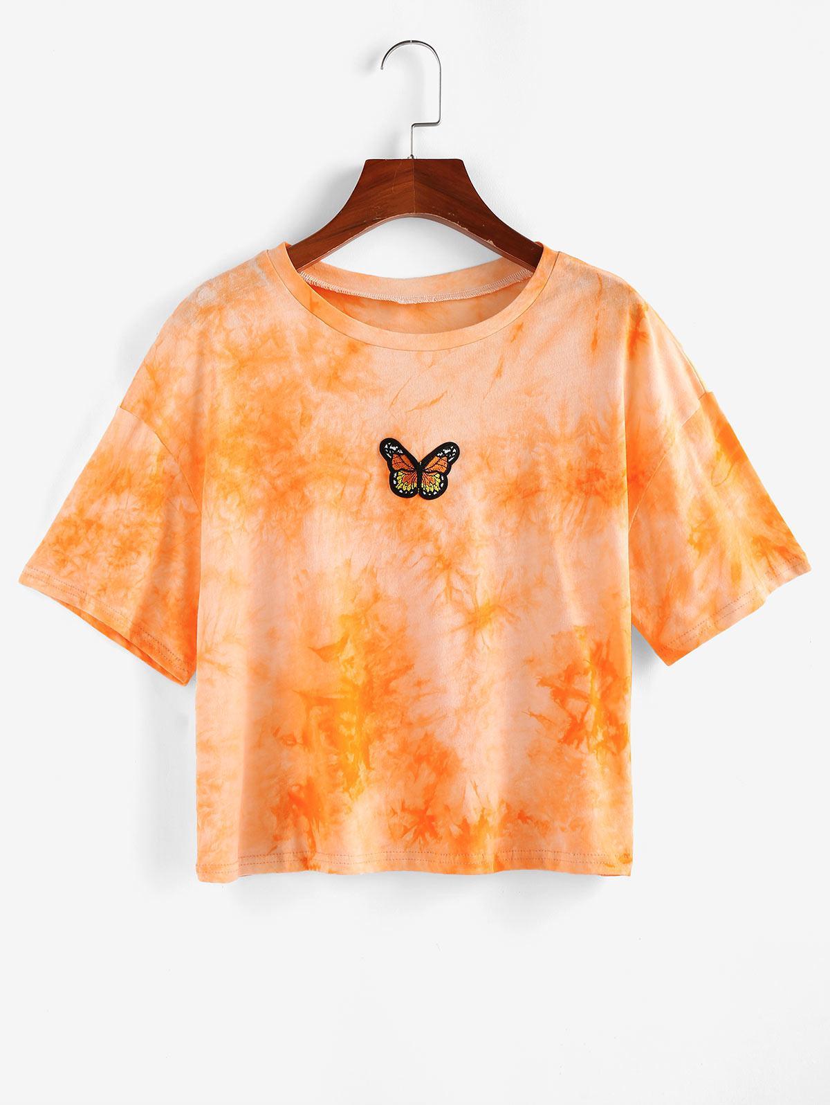 ZAFUL Tie Dye Butterfly Embroidered T Shirt, Papaya orange