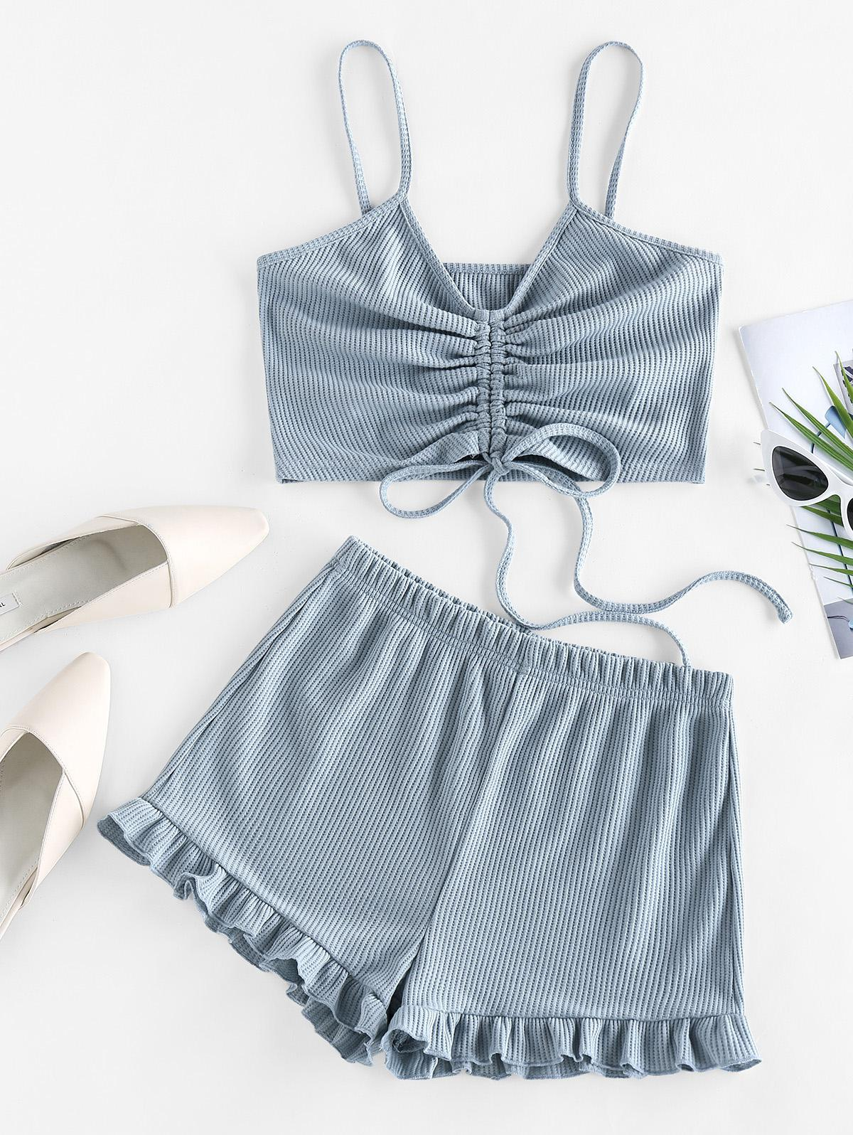 ZAFUL Cinched Ribbed Flounce Two Piece Shorts Set