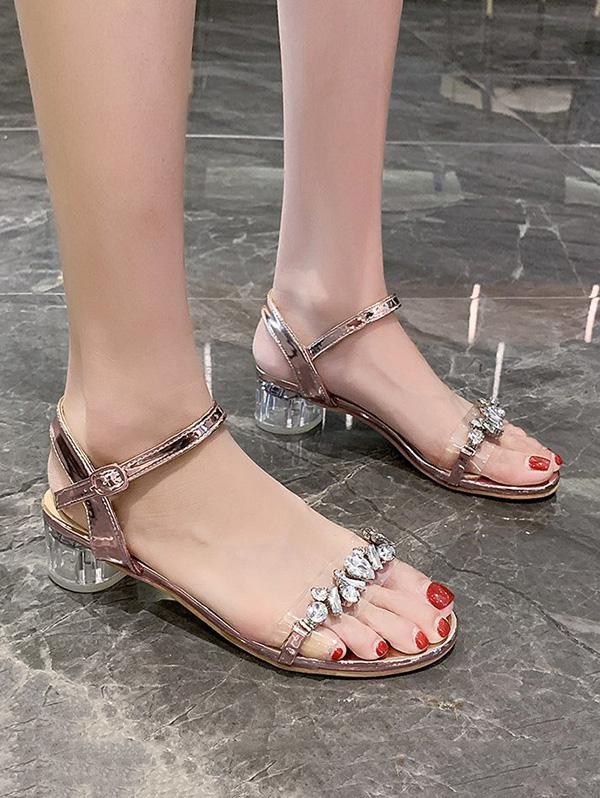 Rhinestone Embellished Ankle Strap Mid Heel Sandals