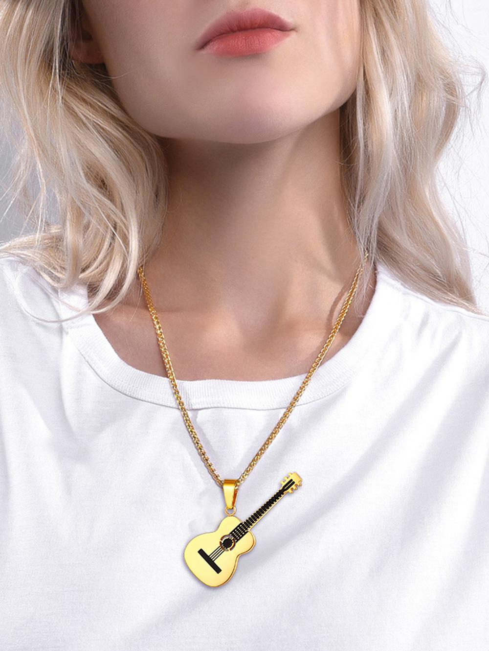 18K Gold Plated Guitar Necklace