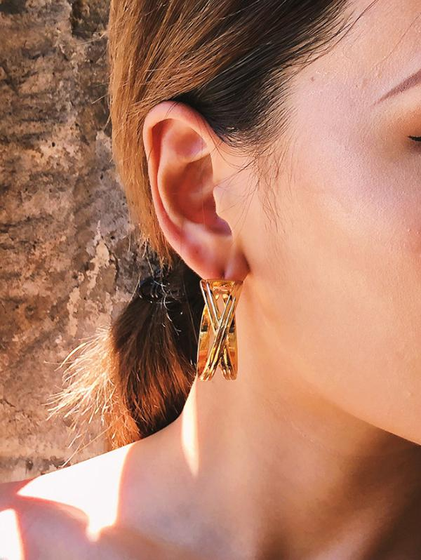 Silver Needle 18K Gold Plated Copper Earrings
