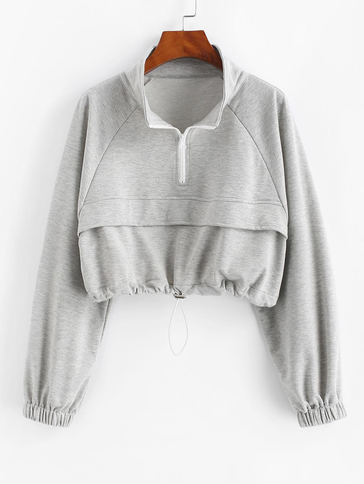 Zip Drawstring Hem Raglan Sleeve Cropped Sweatshirt