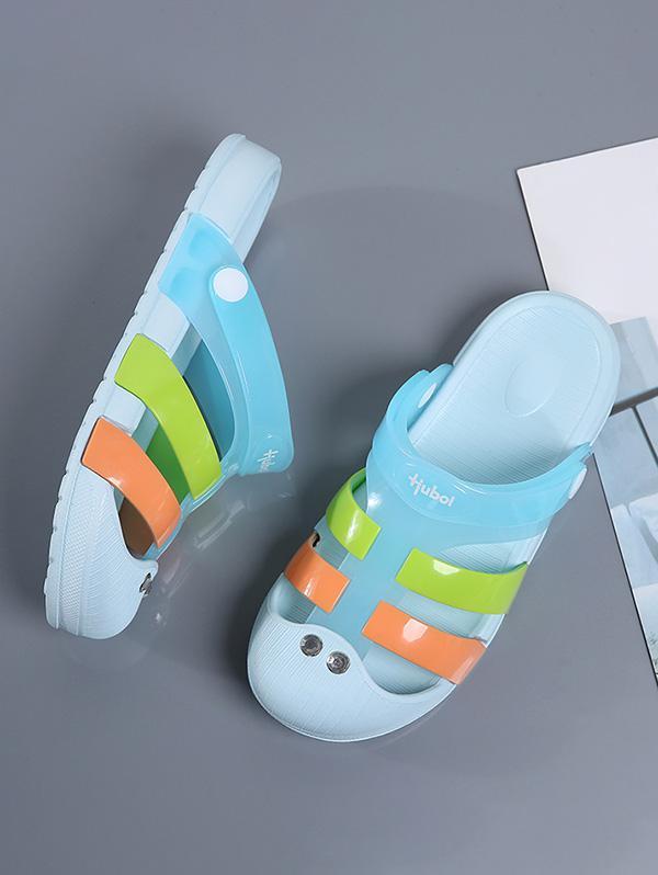 Sandales en Blocs de Couleurs à Bout Fermé