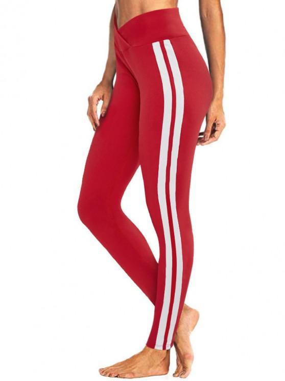 chic Tulip Waist Striped Sports Leggings - RED S