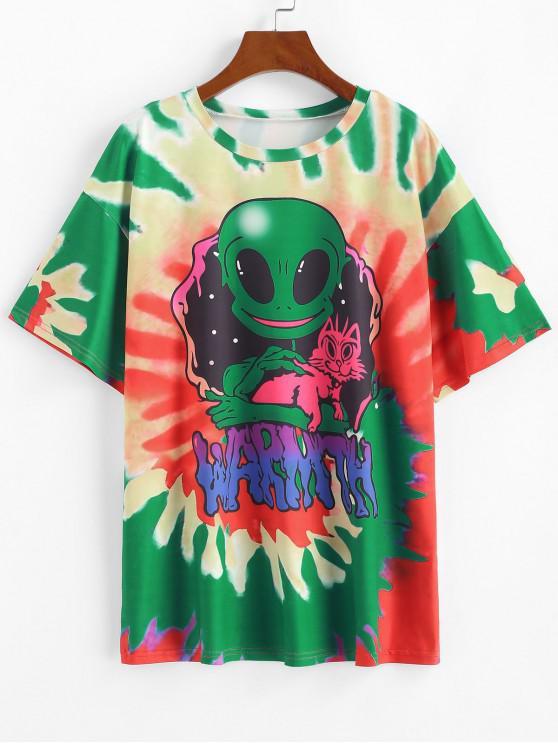buy Spiral Tie Dye ET Print Short Sleeve T-shirt - GREEN XL