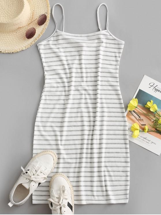 hot Striped Ribbed Bodycon Cami Dress - WHITE XL