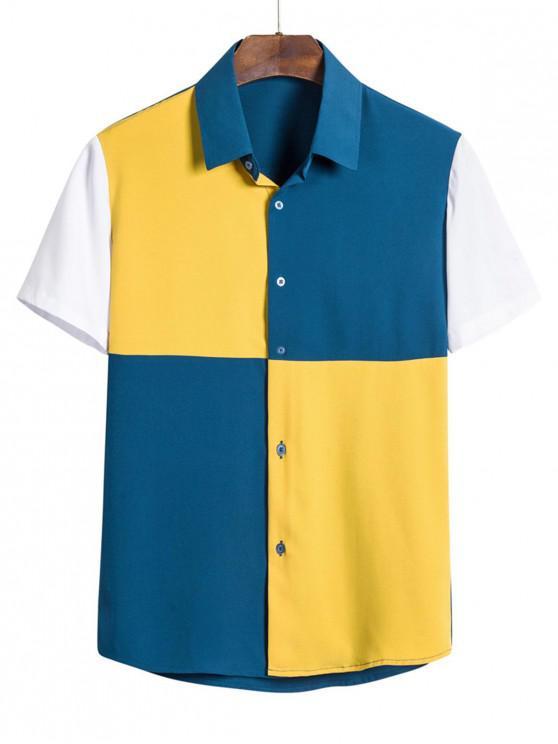shops Short Sleeve Colorblock Button Shirt - BLUEBERRY BLUE 3XL