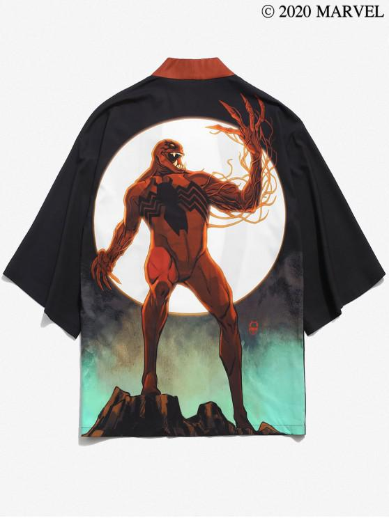 unique Marvel Spider-Man Venom Moon Print Open Front Kimono Cardigan - BLACK S