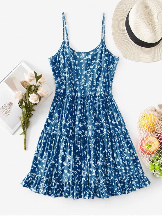fancy ZAFUL Tiered Ditsy Print Sundress - DODGER BLUE S