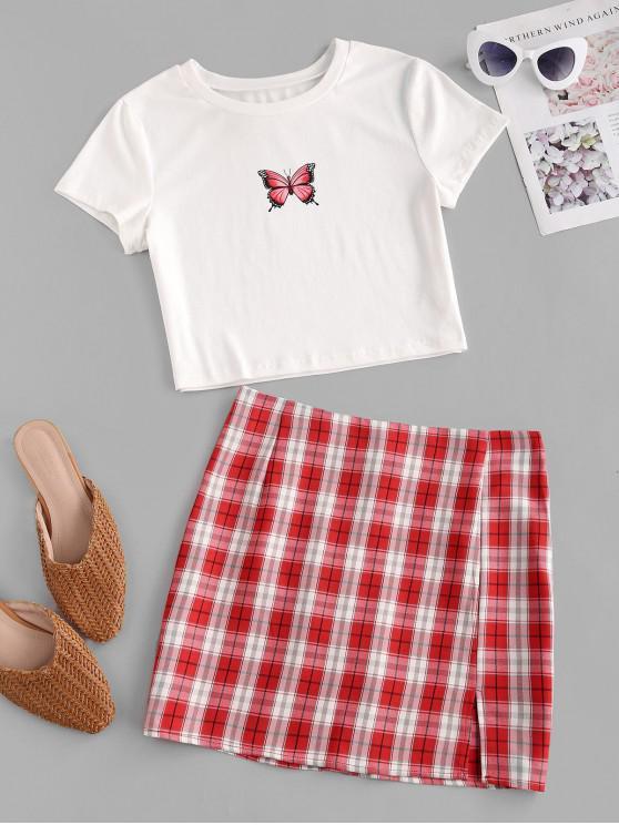 Robe Papillon Imprimé à Carreaux Deux Pièces - Rouge XL