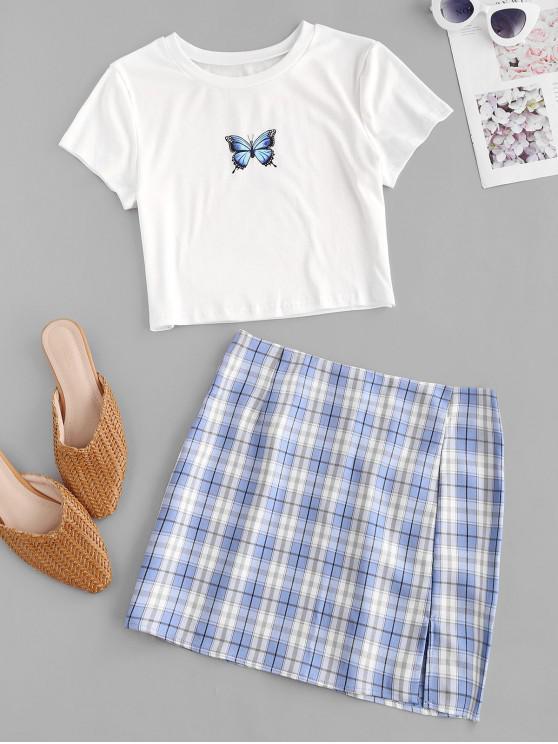 shop Plaid Butterfly Print Two Piece Dress - BLUE XL