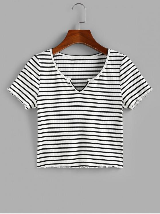 ZAFUL Ribbed Striped V Notched Crop T-shirt - أبيض M