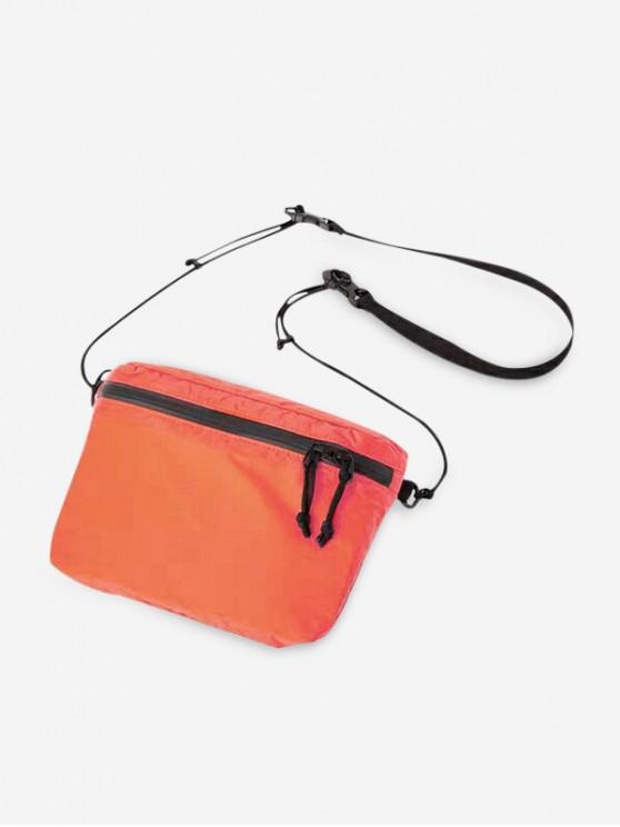 shop Zipper Pocket Nylon Casual Crossbody Bag - DARK ORANGE