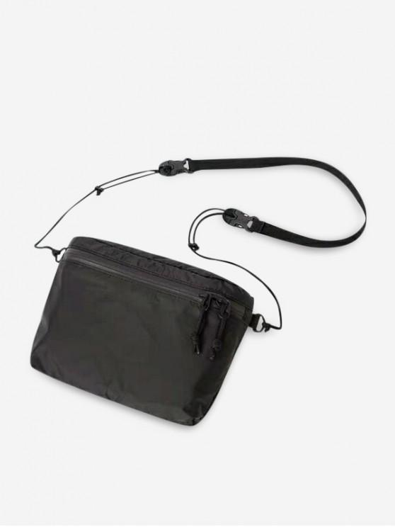 outfits Zipper Pocket Nylon Casual Crossbody Bag - BLACK