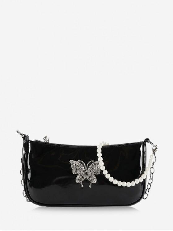 fancy Butterfly Pattern Faux Pearl Shoulder Bag - BLACK
