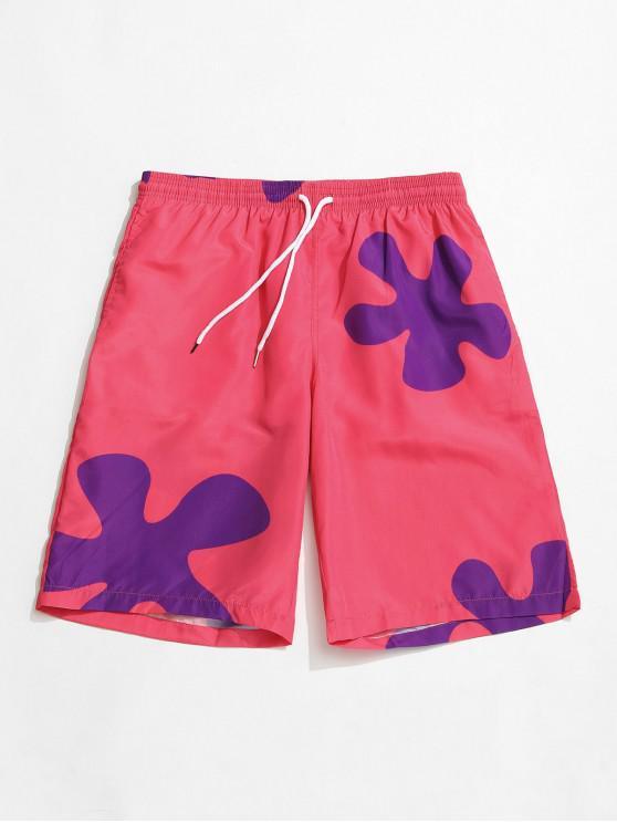 women's Floral Print Drawstring Board Shorts - LIGHT PINK XL
