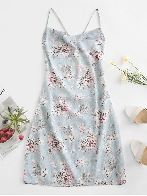fancy Criss Cross Open Back Floral Dress - LIGHT BLUE XL