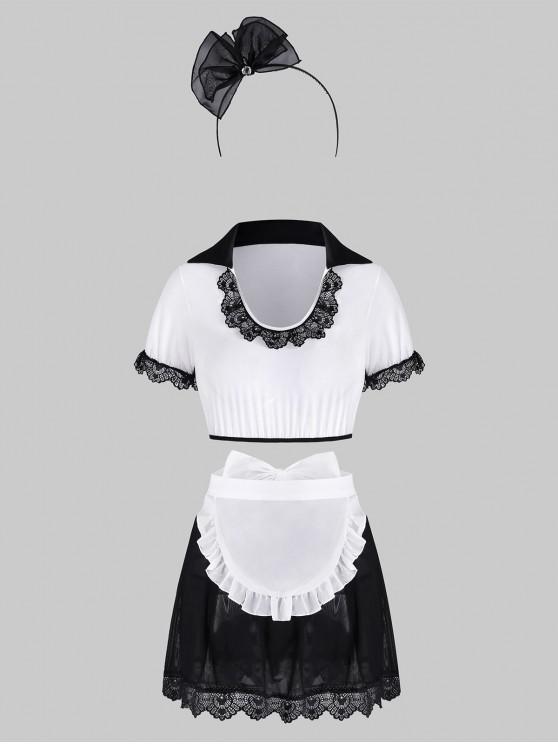 unique Lace Trim Sheer Mesh Lingerie Maid Costume - WHITE ONE SIZE