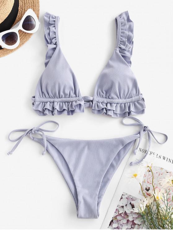 shop ZAFUL Ribbed Ruffle Tie Side Bikini Swimwear - LIGHT PURPLE L
