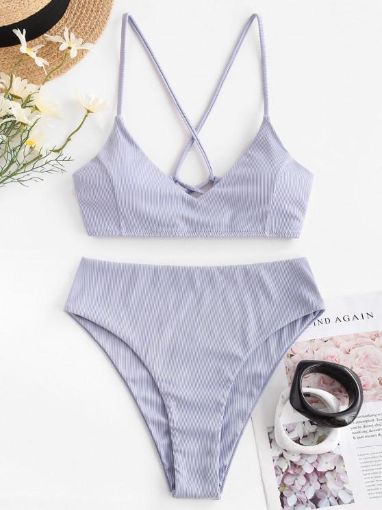 trendy ZAFUL Ribbed Cross Lace-up High Cut Bikini Swimwear - LIGHT PURPLE M