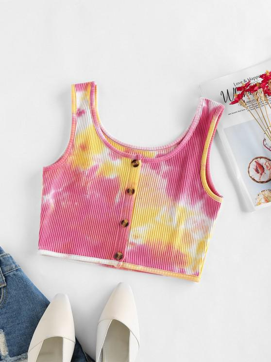 womens ZAFUL Tie Dye Ribbed Button Up Tank Top - LIGHT PINK M