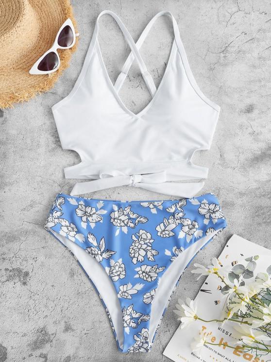 ZAFUL Tankini de Criss Cross Floral - Blanco S