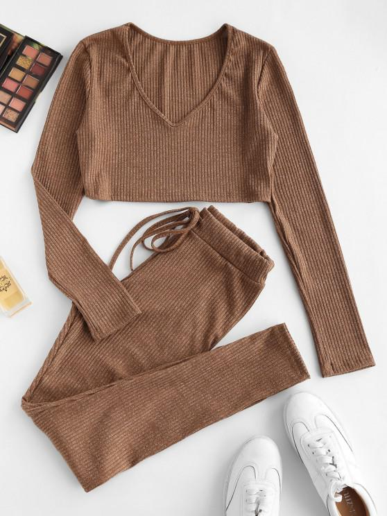 hot Ribbed Heathered Knit Two Piece Set - COFFEE S