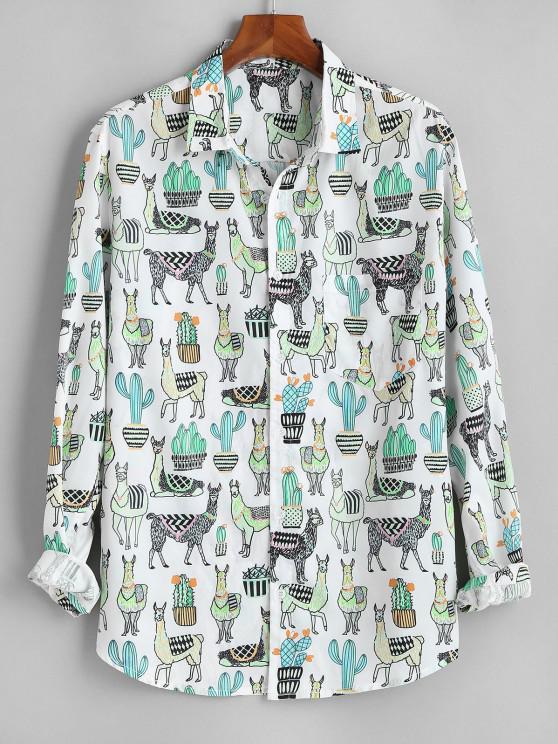 buy Cactus Camel Print Button Up Pocket Shirt - WHITE XL