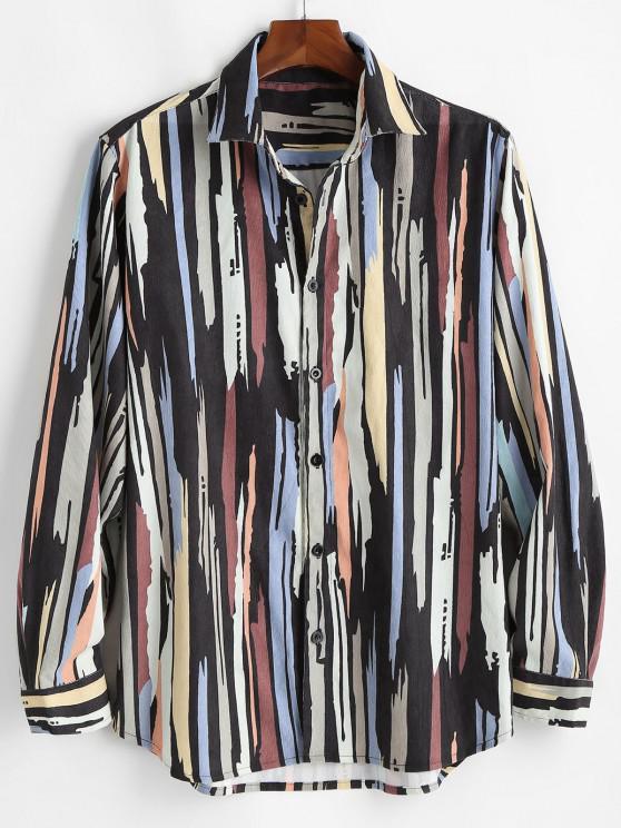 fancy Colorful Lines Print Button Up Corduroy Shirt - BLACK S
