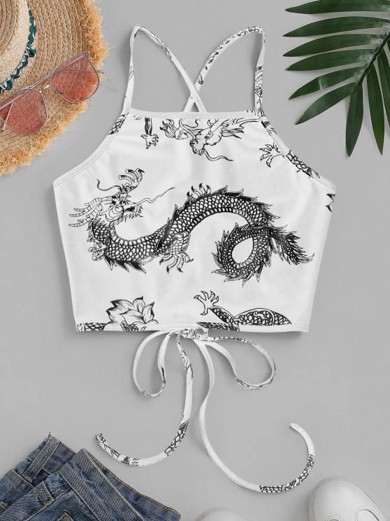 chic ZAFUL Dragon Print Oriental Lace Up Crop Camisole - WHITE L