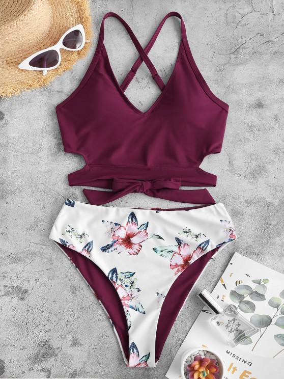 fancy ZAFUL Reversible Criss Cross Floral Tankini Swimwear - DEEP RED L