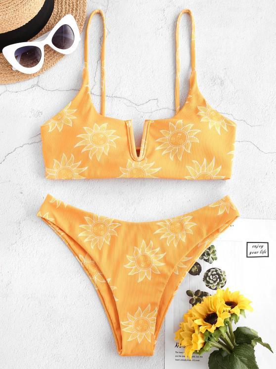 women ZAFUL Sun Print Ribbed Lace Up V Wired Bikini Swimwear - YELLOW L