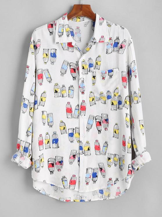 women's Bottle Print Button Up Pocket Shirt - WHITE 3XL