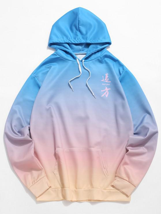 unique Photographic Ombre Print Kangaroo Pocket Drawstring Hoodie - LIGHT BLUE 2XL