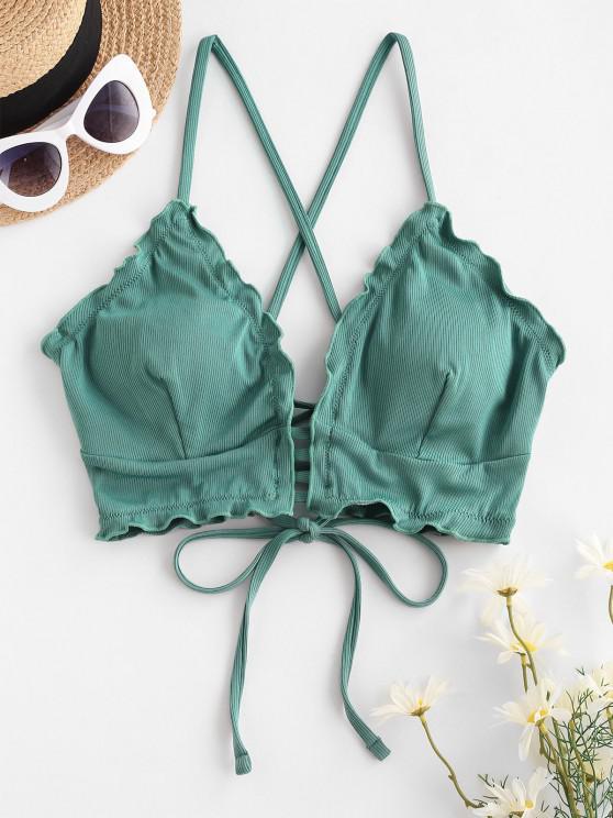 fancy ZAFUL Ribbed Frilled Lace-up Ladder Bikini Top - LIGHT GREEN S