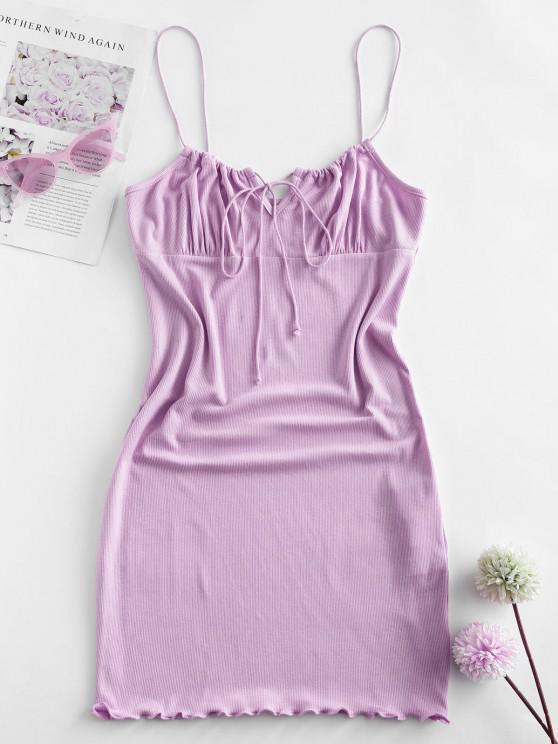ZAFUL Ribbed Lettuce Tie Cami Mini Dress - ضوء ارجواني M
