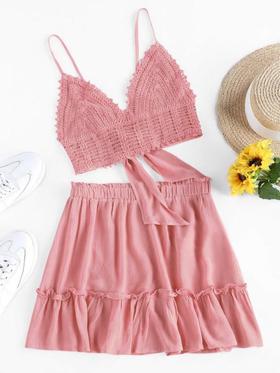 ladies ZAFUL Crochet Tie Back Frill Skirt Set - PINK M