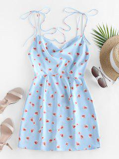 ZAFUL Ditsy Print Tie Shoulder Backless Dress - Light Sky Blue Xl