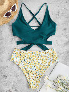 ZAFUL Flower Print Criss Cross Tie Back Tankini Swimwear - Deep Green S