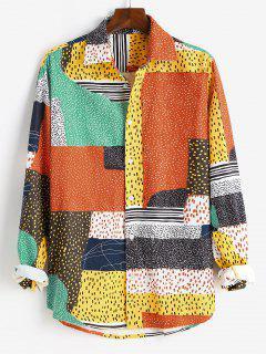 Button Up Mix And Match Print Long Sleeve Corduroy Shirt - Orange 2xl