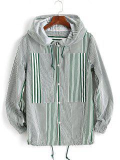 Veste à Capuche Imprimée à Double Rayures Avec Poches à Cordon - Vert 2xl